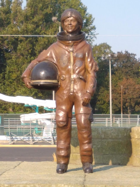 Bronze statue of Bonnie Dunbar, local girl and astronaut
