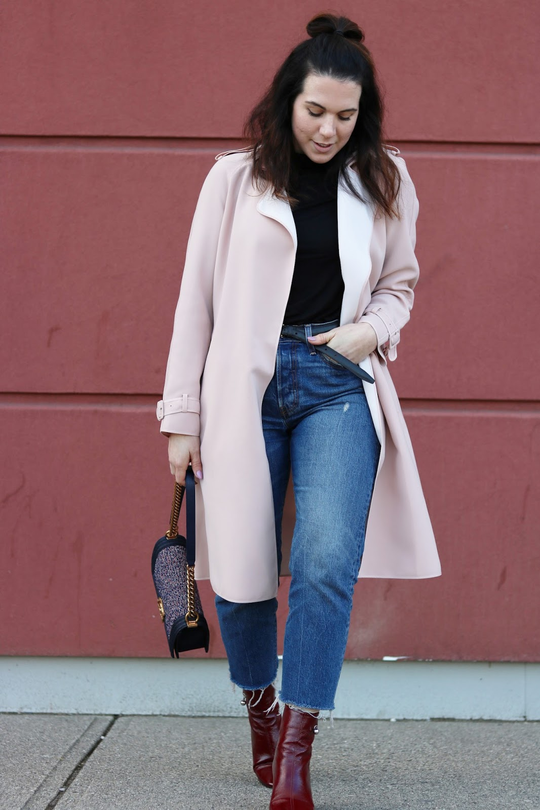 Le Chateau blush trench coat outfit levis wedgie jeans chanel denim boy bag vancouver fashion blogger aleesha harris