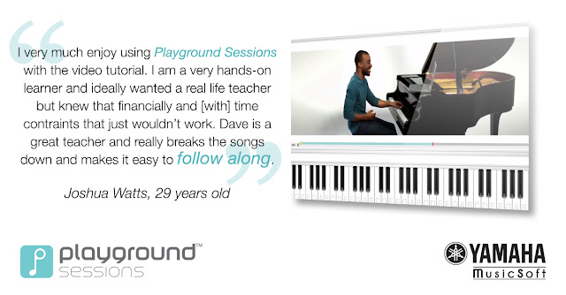 I very much enjoy using Playground Sessions with the video tutorial. I am a very hands-on learner and ideally wanted a real life teacher but knew that financially and [with] time constraints that just wouldn't work. Dave is a great teacher and really breaks the songs down and makes it easy to follow along.  Joshua Watts, 29 years old