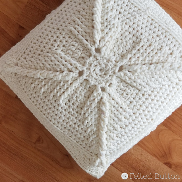 Asanas Pillow -- free crochet pattern by Susan Carlson of Felted Button -- colorful crochet patterns