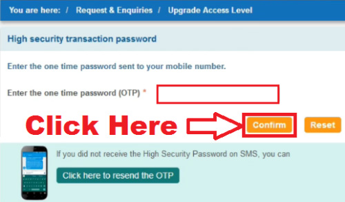 i am not able to upgrade access level in sbi