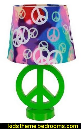 Green Peace Sign Table Lamp with Rainbow Peace Shade