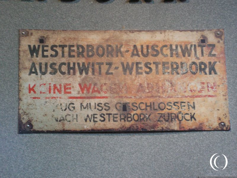A sign for the transportation between Westerbork and Auschwitz