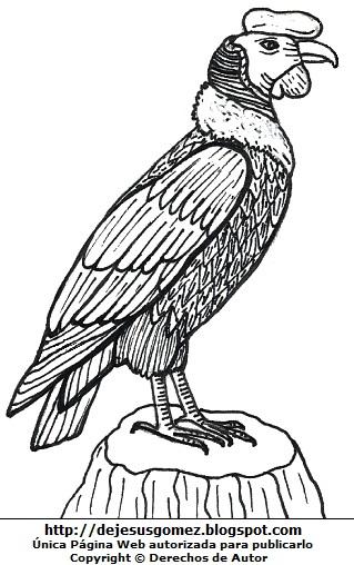 Dibujo de un cóndor parado en el tronco de un árbol para colorear o pintar. Dibujo de cóndor de Jesus Gómez