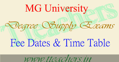 MGU University UG Degree Supplementary time table 2016 & fee last date