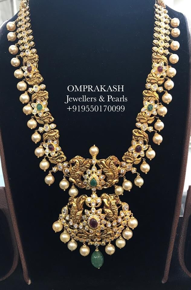 Peacock Floral Long Chain Omprakash Jewellers