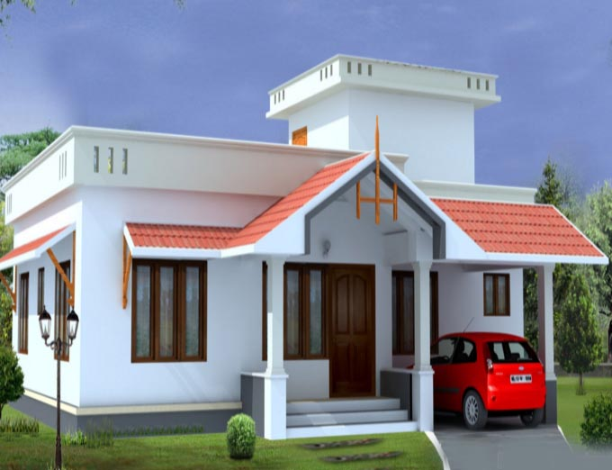 Low budget 1054 sqft small plot 2 bedroom kerala home plan for Small budget house plans in kerala