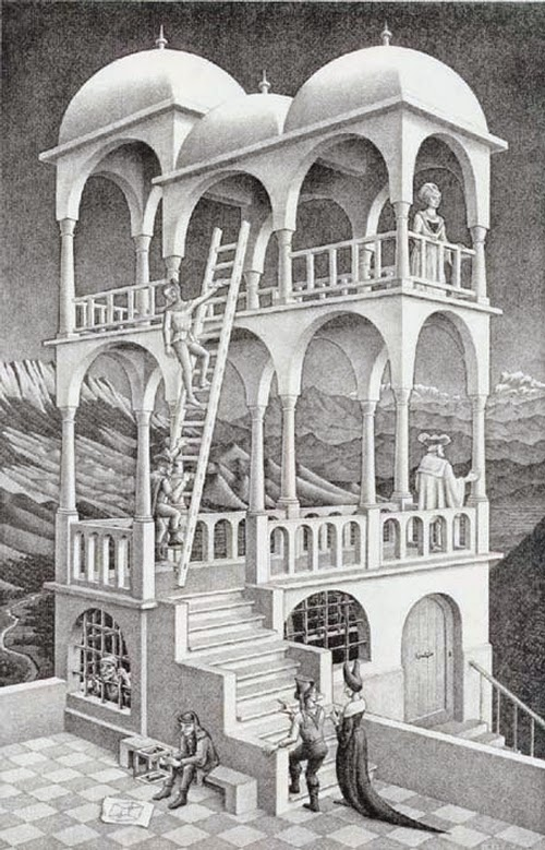 06-Belvedere-Andrew-Lipson-Surreal-M-C-Escher-v-Lego-in-Drawing-v-Sculpture-www-designstack-co