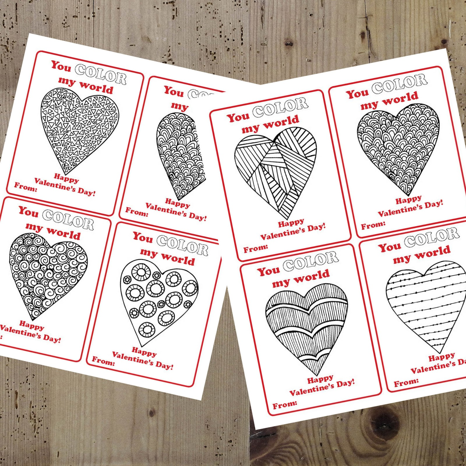 A Lively Hope You Color My World Valentines Free Printable