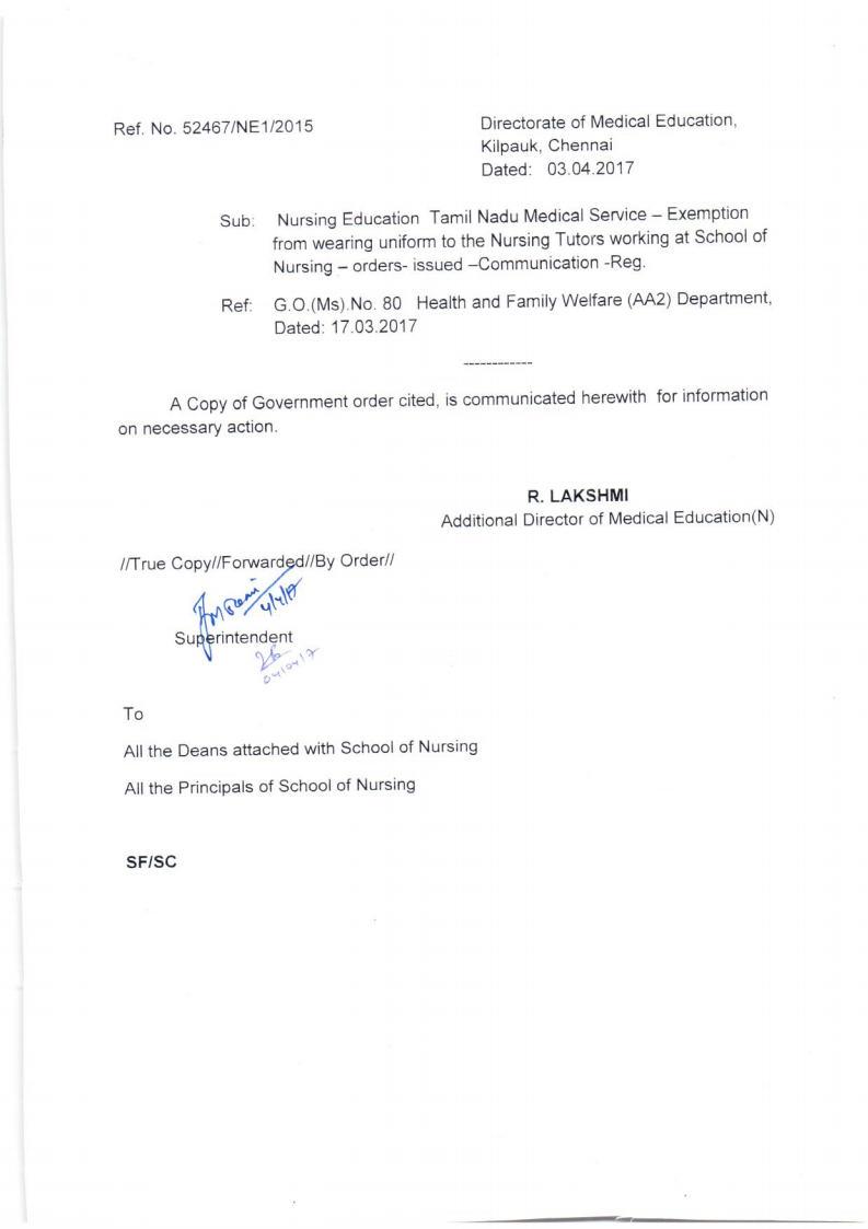 Tamilnadu Government Nursing Tutors Association: Nursing