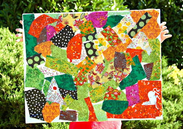 Fall Fabric Scrap Collage- Art for Kids
