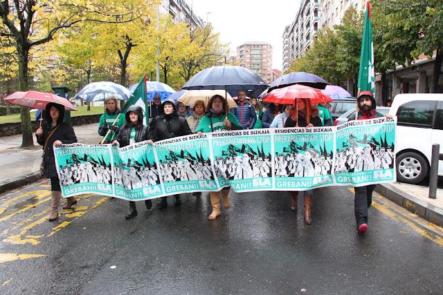 Marcha de protesta de las trabajadoras de residencias de ancianos