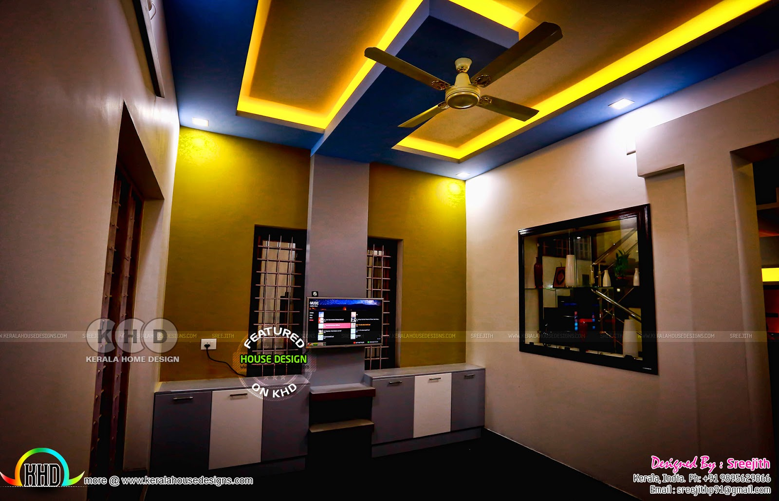 Work finished kerala home interior kerala home design for Kerala interior designs