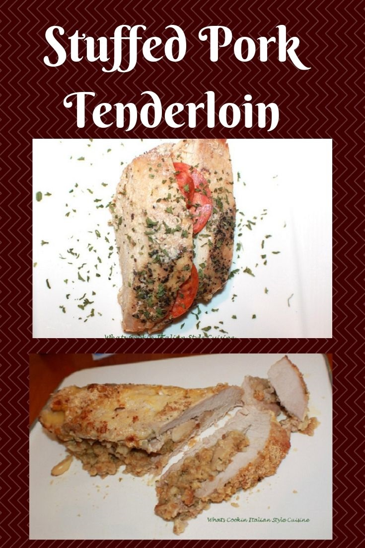 this is a stuffed pork tenderloin made with fresh tomatoes, basil, spices and mozzarella cheese sprinkled with dried parsley on a white plate. The second photo is a stuffed pork with apples and cheddar cheese.
