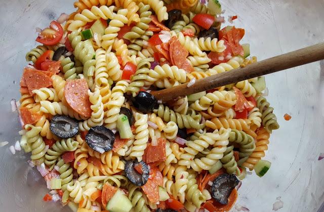 Mixing the Italian Pasta Salad