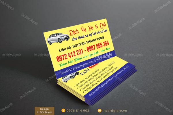 Mẫu card visit Taxi Dịch vụ xe 5 chỗ