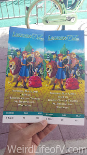 Two of our tickets for the Legends of Oz: Dorothy's Return premiere