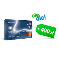 Rabat 400 zł do wykorzystania na OleOle.pl za kartę Citi Simplicity