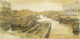Fontanka River near the Chernyshov Bridge, St Petersburg by Luigi Premazzi - Landscape Drawings from Hermitage Museum