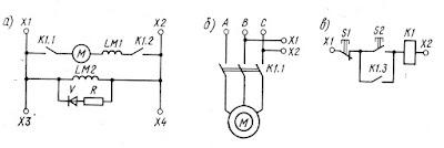 Схемы прямого пуска двигателя с контакторным управлением