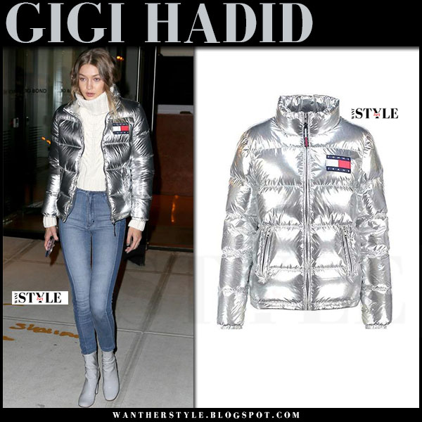 Gigi Hadid in metallic silver puffer down tommy hilfiger jacket, skinny jeans and grey ankle boots tony bianco nakita what she wore