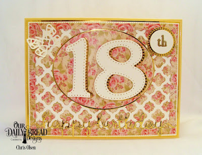 Our Daily Bread Designs Custom Dies: Large Numbers, Ovals, Pierced Circles, Circles, Boho Background, Bitty Butterfly, Happy Birthday Script, Pierced Rectangles, Paper Collection: Blushing Rose