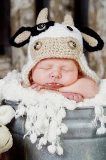 Baby Toddler Crochet Cow Hat