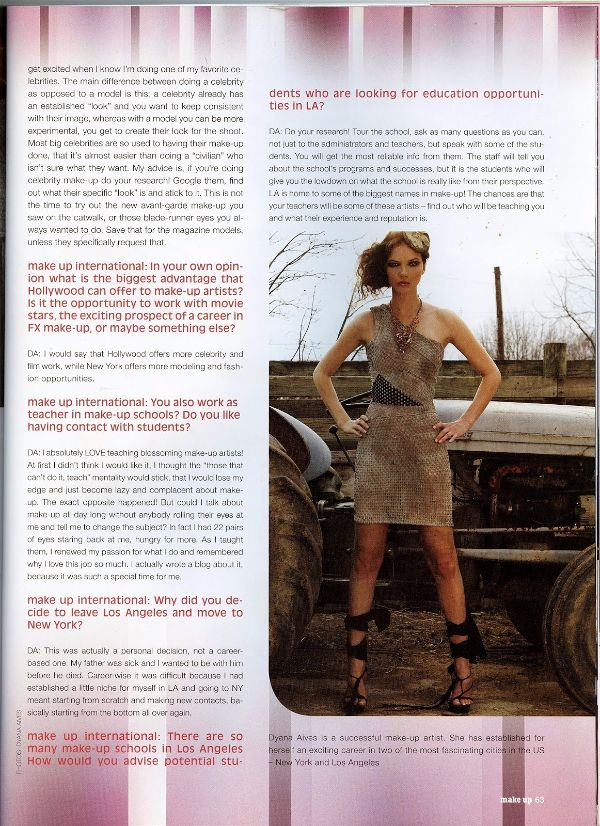 Dyana Aives as interviewed for Makeup Artist Magazine