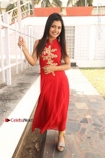 Telugu Actress Priyanka Jain Stills in Red Dress at Amazing Arts Production no 1 Movie Opening  0032.JPG
