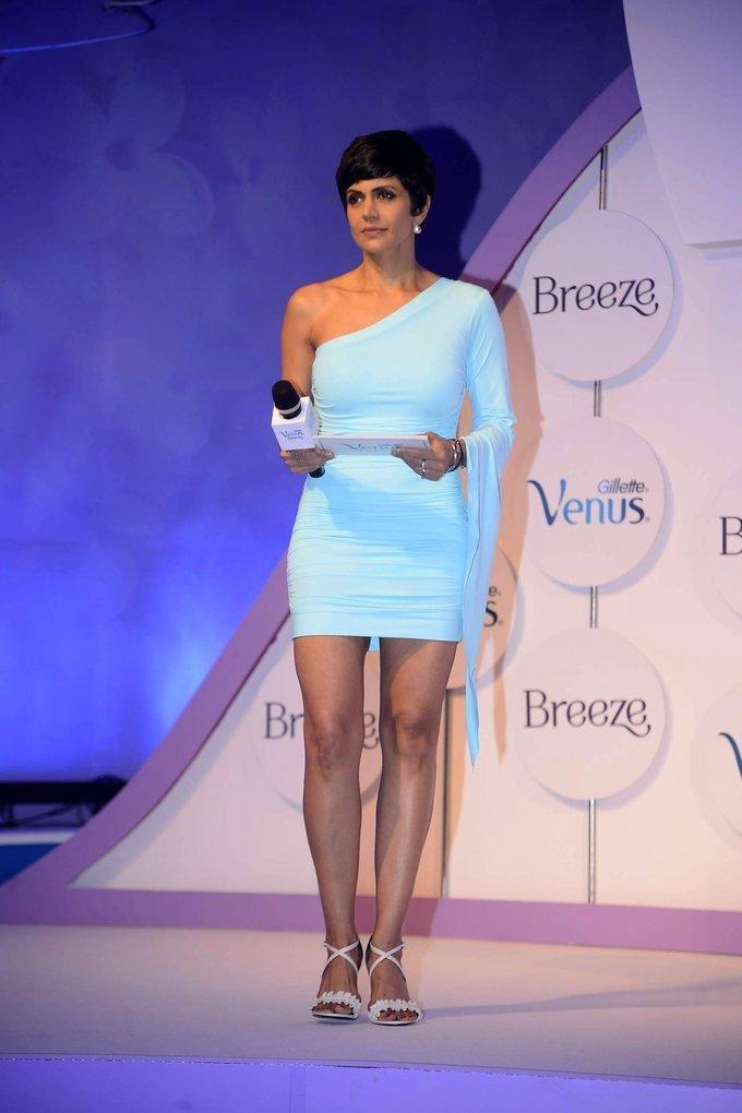 Indian Model Mandira Bedi Stills In Blue Mini Skirt
