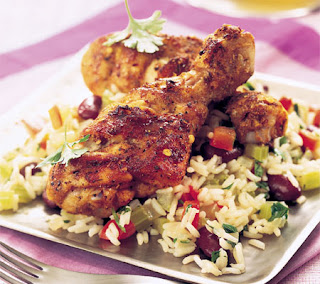 spicy drumsticks with creole rice recipe