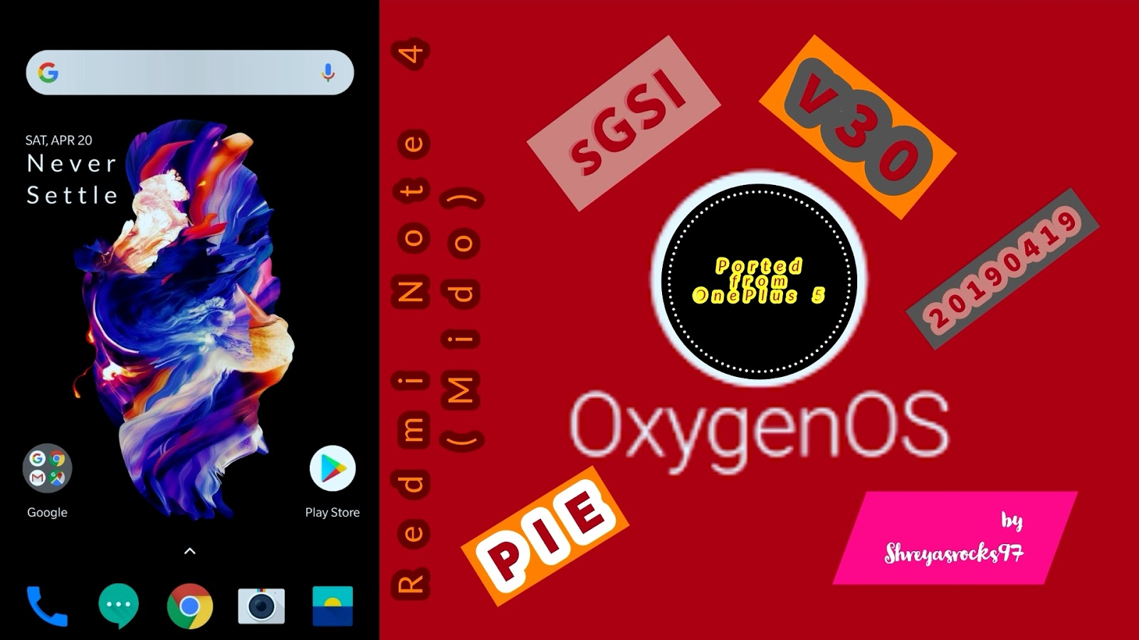 Oxygen OS Pie (OP5T) v30 (19-04-2019) for Redmi Note 4 (Mido