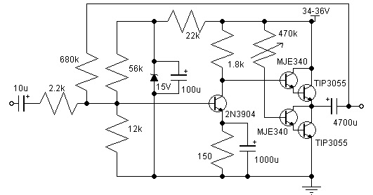 10 to 14W Class A Audio Amplifier Circuit Diagram