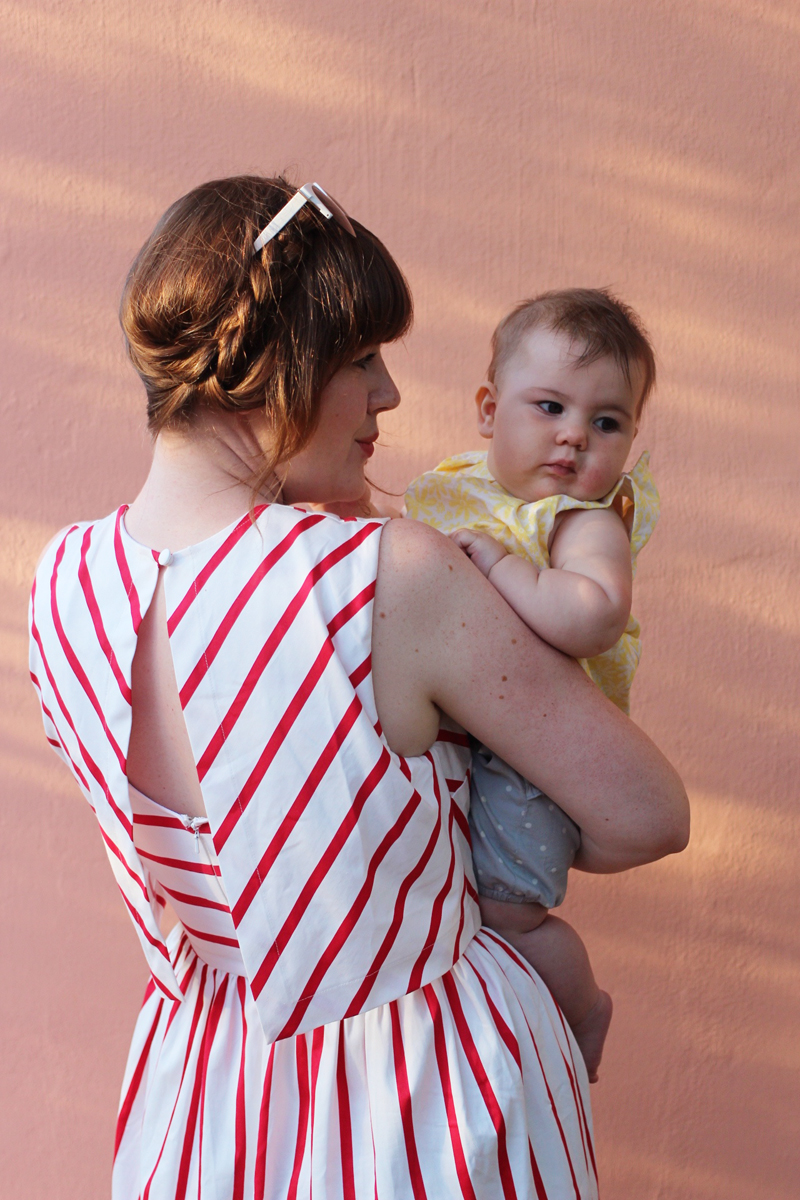 red striped asos dress mother breastfeeding friendly