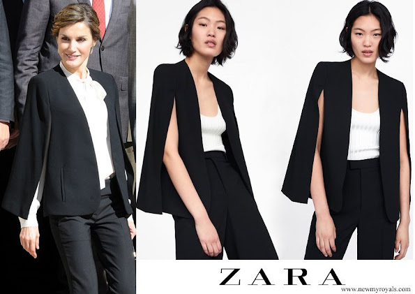 Queen Letizia wore Zara Cape style jacket