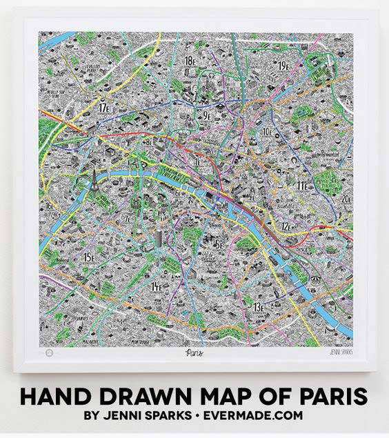 jenni sparks drawn map of paris