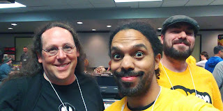 The author, The Game Dork himself, poses in the vendor hall with DC and Jack from Loot & XP.