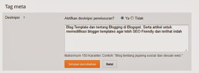 Cara membuat meta description dinamis di blogspot