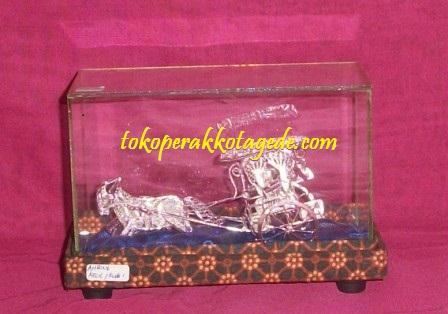miniatur dokar silver plated