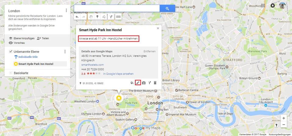Google Maps Karte Notiz hinzufügen Screenshot