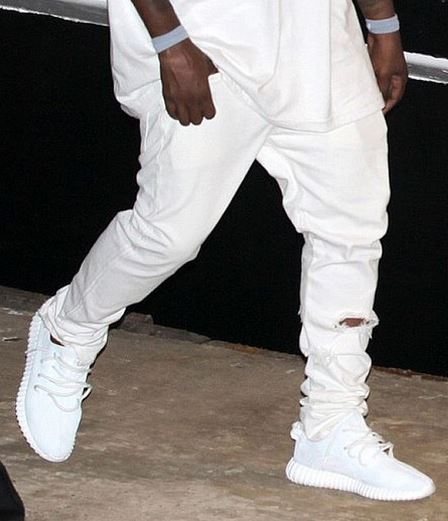 503c4acc7d223 Kanye West Wears adidas Originals Yeezy 350 Whiteout Shoes (New Images)