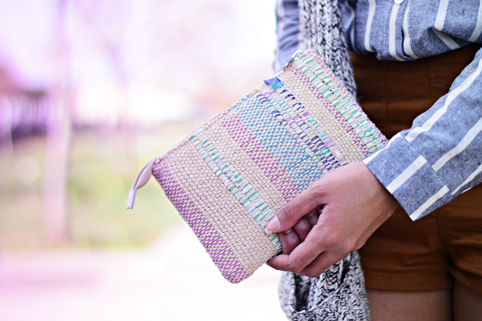 pastel knitted handmade bag