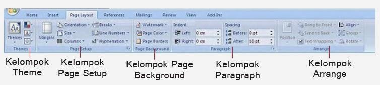 Fungsi Tab Page Layout Microsoft Word