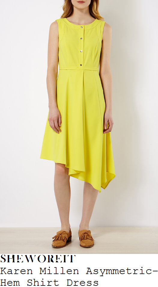 charlotte-hawkins-karen-millen-yellow-sleeveless-asymmetric-hem-shirt-dress-good-morning-britain