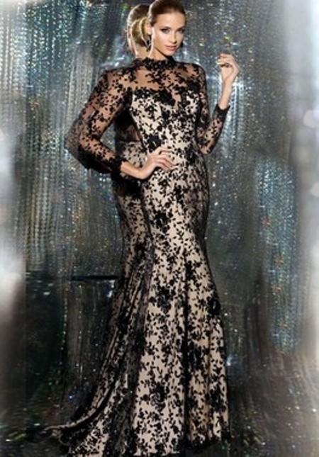 Trumpet/Mermaid High Neck Black Lace Ruffles 3/4 Sleeve Prom Dress -Price: $202.47 (60.0% OFF)