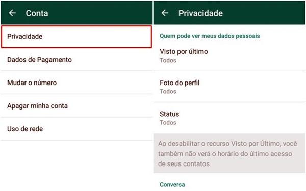 O WhatsApp oferece recursos para definir quem poderá ter acesso às suas informações: todos, somente os contatos ou ninguém