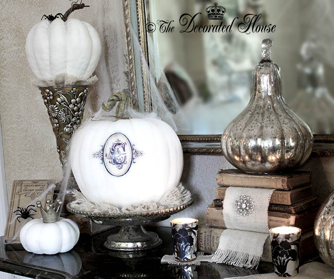 The Decorated House - Monogrammed White Pumpkin, Annie Sloan Chalk Paint