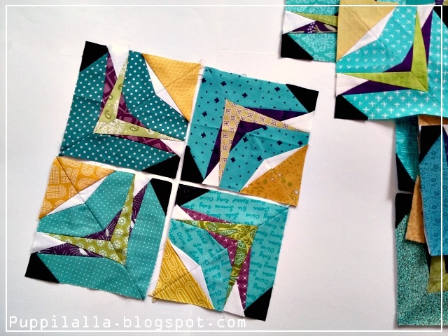 Puppilalla, modern quilting, quilted pillowcase, Static Interference Quilt Block, FPP, Foundation Paper Piecing, Stash bee