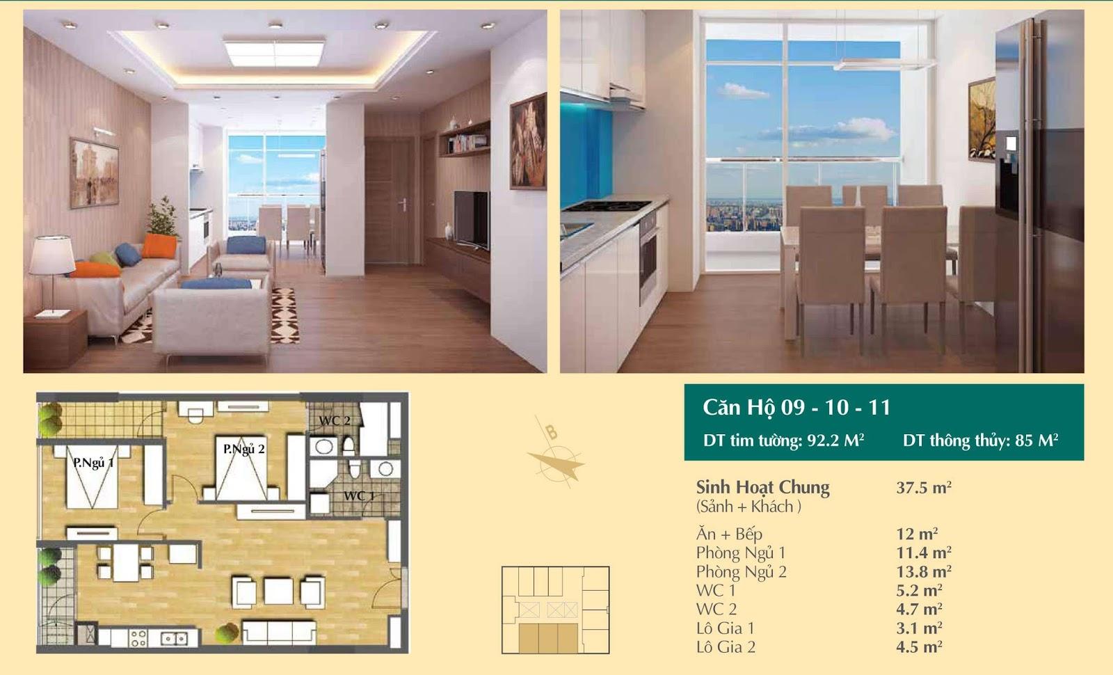 Thiết kế căn hộ số 09, 10, 11 - 92,2m2 Hoàng Cầu Skyline