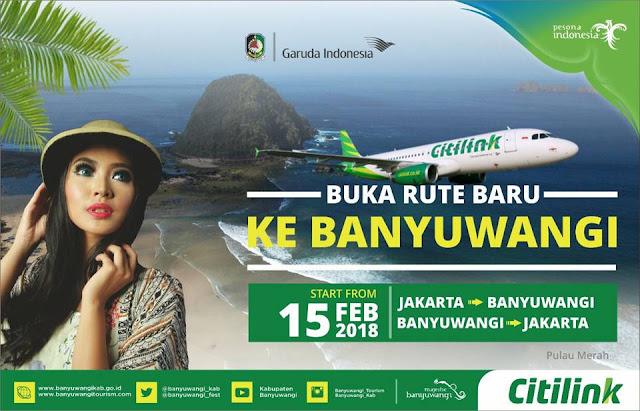 Citilink buka rute Jakarta-Banyuwangi.